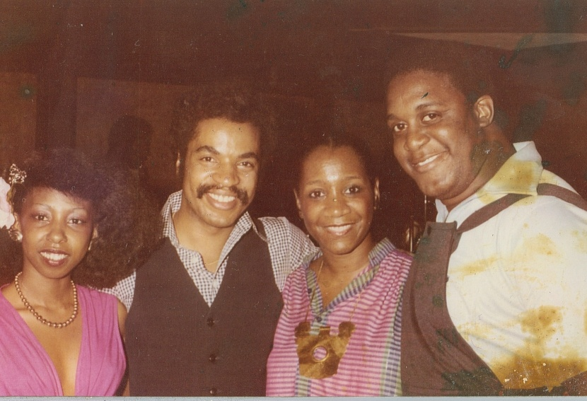 From left to right: Della, Dr. Perry Johnson (DJ), Patti LaBelle, unknown. At a Philadelphia night club, early 1980s.