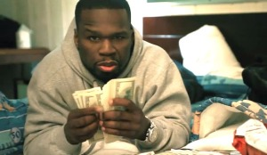 "50 Cent in video screenshot for ""Money"""
